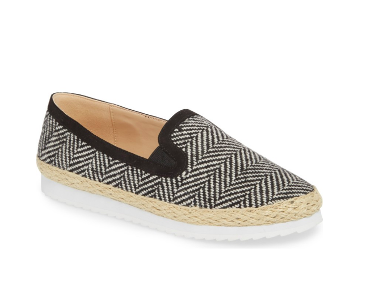 Espadrille shoe signs comfort black and white summer