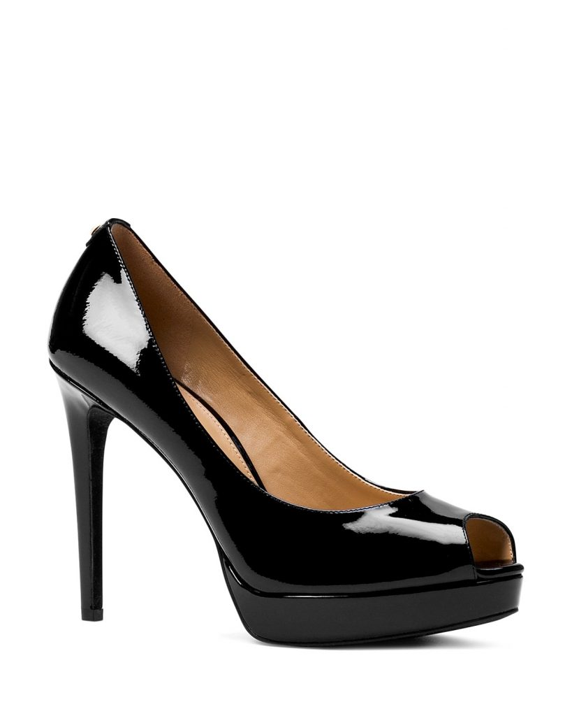 black patent leather heels sign