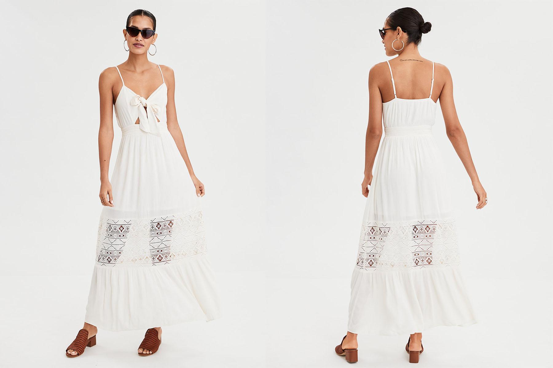 aerie tie front maxi dress