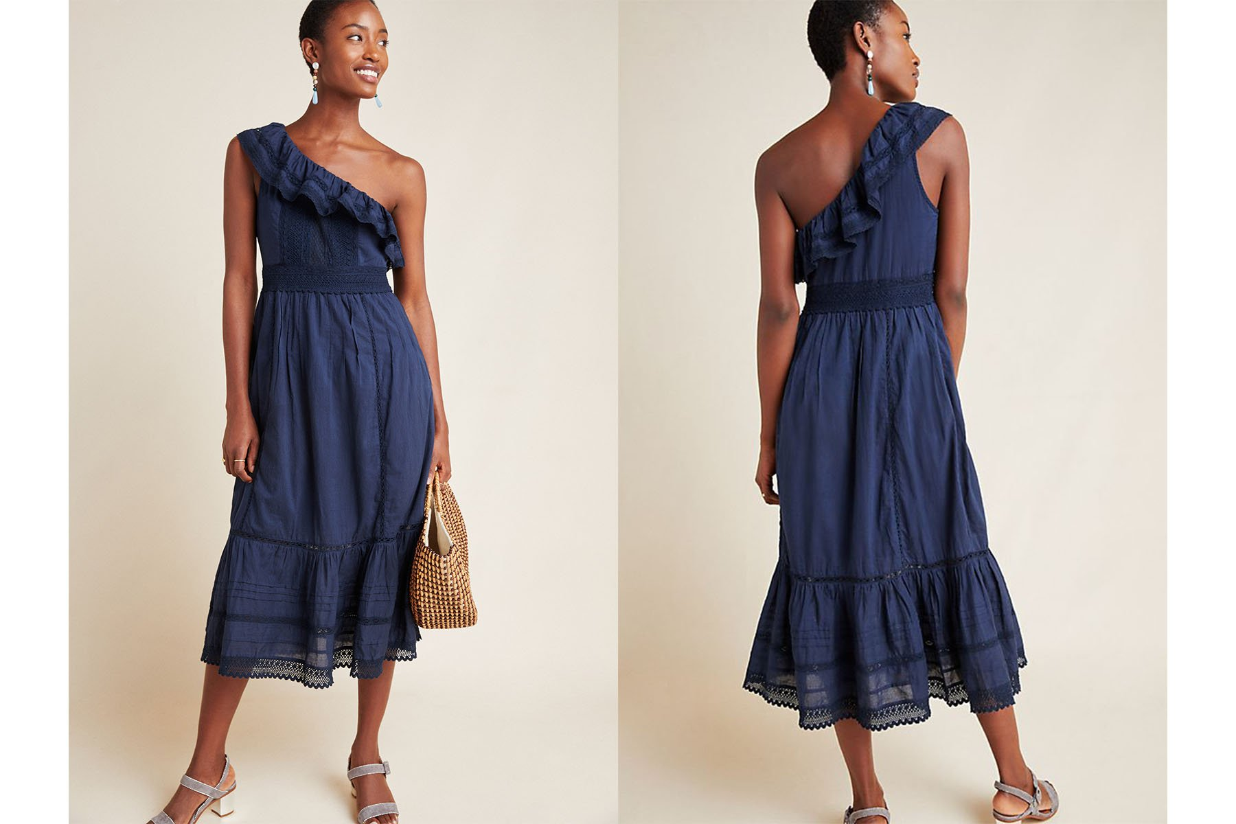 Anthropologie coco one-shoulder lace midi dress
