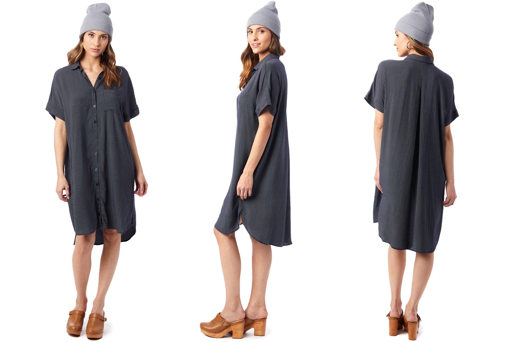 rayon challis printed button down dress