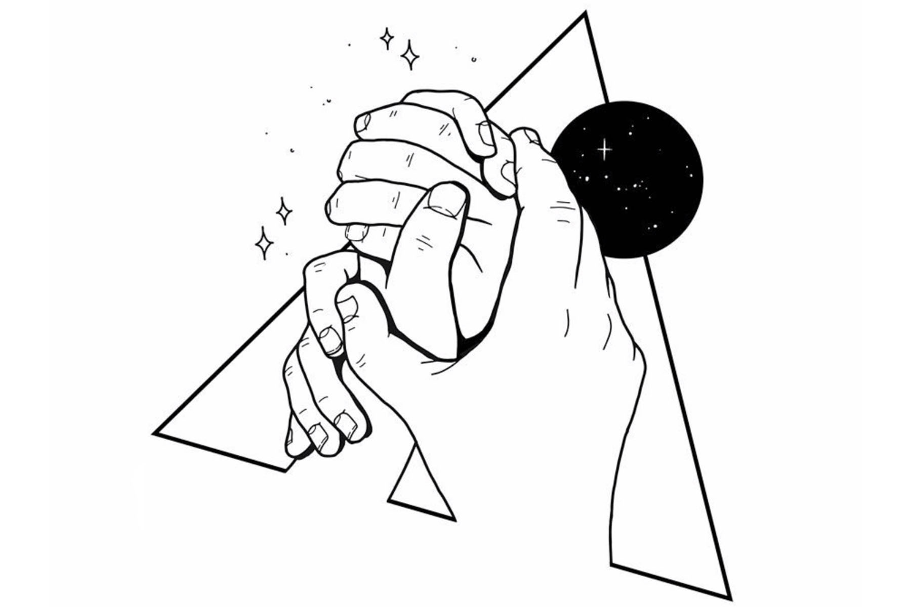 holding hands moon