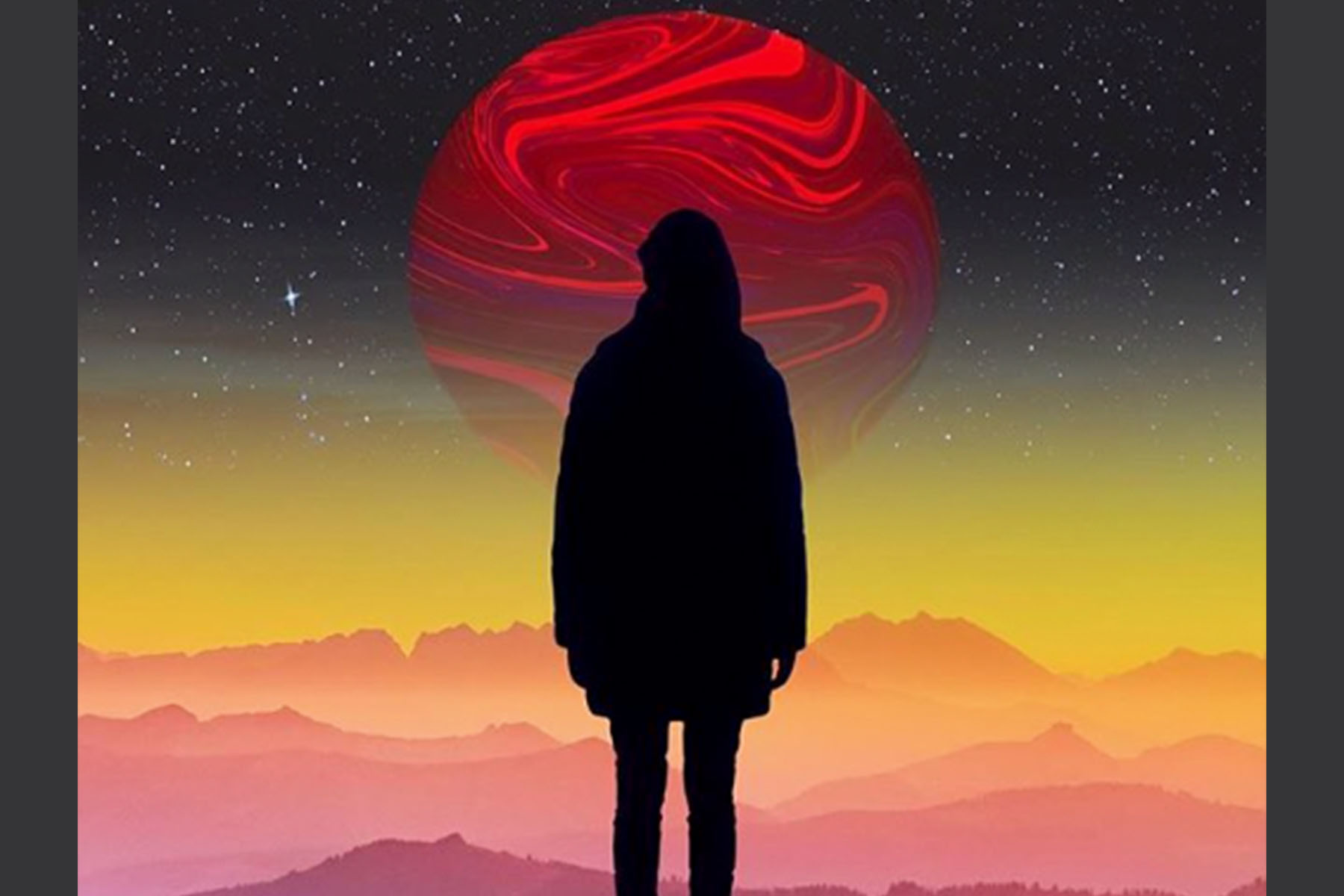 girl in front of planet