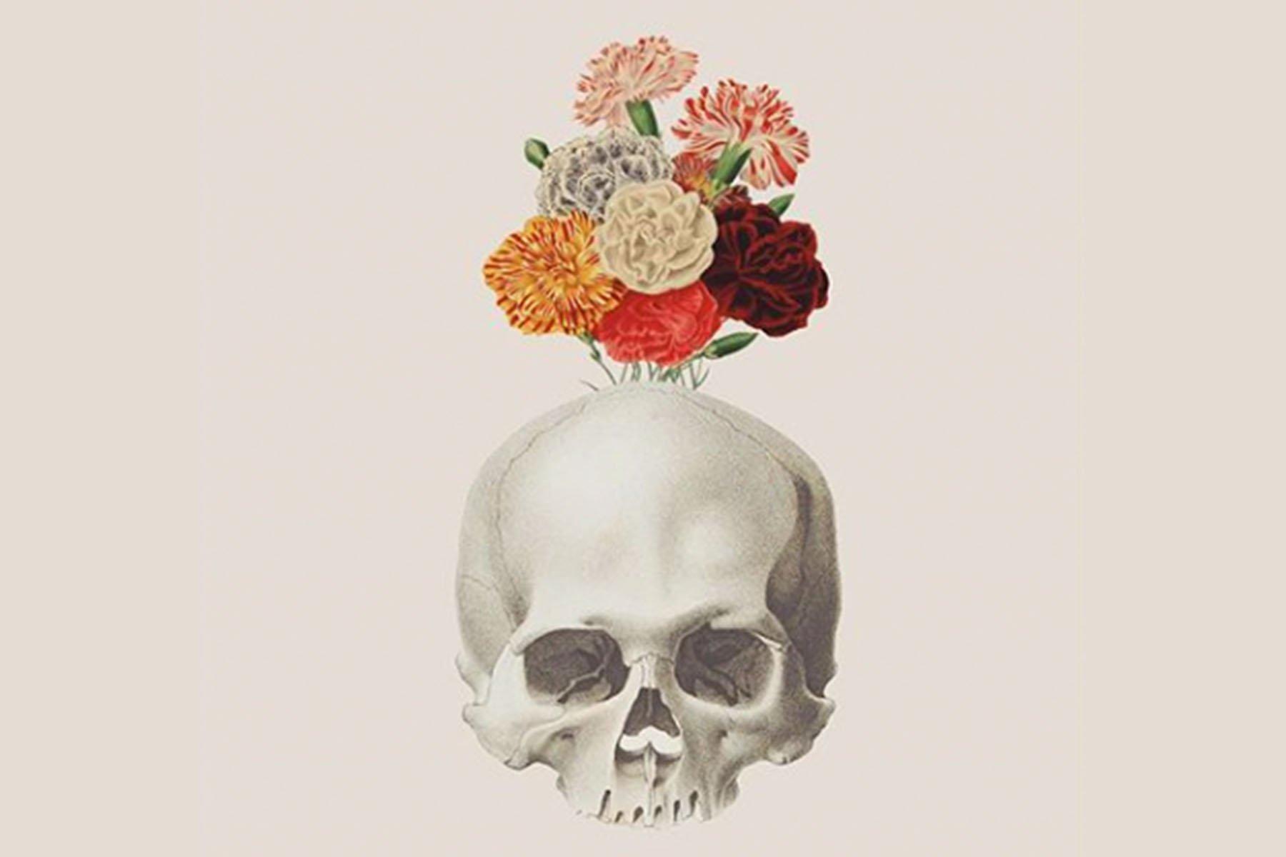capricorn skull flowers